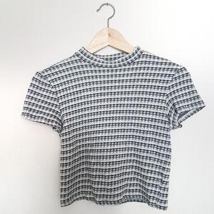 Gingham Mock Neck Crop Tshirt